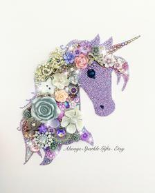 Acrylic Glue, Unicorn Wall Art, White Christmas Ornaments, Purple Unicorn, Hanging Hearts, Resin Flowers, Button Art, Wooden Hearts, Hanging Wall Art