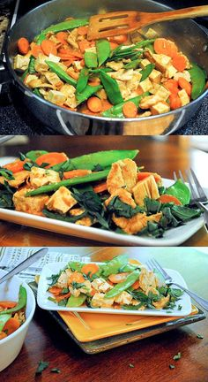 Chicken and Tofu Stir Fry with a Spicy Thai Peanut Sauce