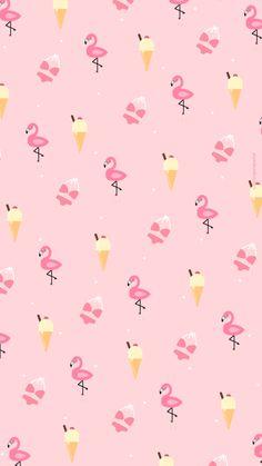 Wallpaper / Fond d'écran Ice cream & Flamingo pink summer - free download . (c) Morgane Pastel