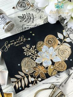 Today I have created a card over black cardstock using the Gansai Tambi Starry Watercolors from Kuretake, which are one of my favorites! Also, featuring the Simon Says Stamp…Gold Embossing + Starry Watercolors Scrapbook Kit, Envelope Art, Black Paper, Planner, Watercolor Cards, Hero Arts, Sympathy Cards, Card Kit, Flower Cards