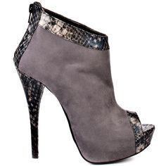 Luichiny ankle bootie grey suede with chic snake print trimming the top of the boot to the bottom