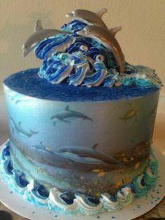 DOLPHIN BIRTHDAY CAKE - I Love this cake... wouldn't it make a beautiful 40th Birthday cake. @Glenda Thornton Hunter