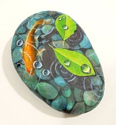 Hand Painted Stone Orange Koi Fish and Leaves by RockArtAttack