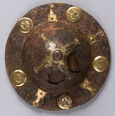 Two Shield Bosses, 7th century Langobardic Iron, gilt bronze