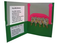 Great idea for singing and retelling the story of the five little monkeys- use clothespins and a folder for easy storage