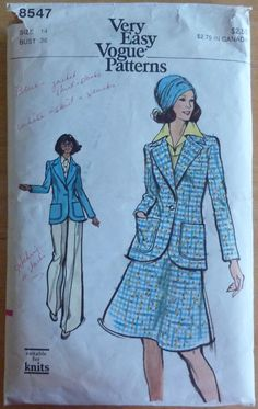 Vintage Sewing Pattern Vogue 8547 - Women's Jacket, Skirt and Pants (1970s) Retro Style - size 14
