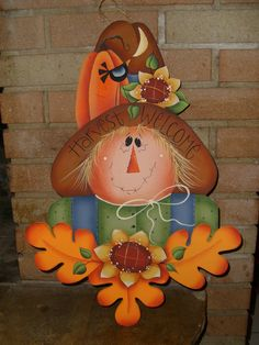 FESTIVE ScArEcRoW, Hand painted Wood Sign, HaLlOwEeN, FaLl, ThAnKsGiViNg, Greeting, Welcome, Fall, Harvest, Home Decor. $24.95, via Etsy.