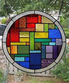 SHPERICALLY GEMEOTRIC Stained Glass Window Panel (Signed and Dated)