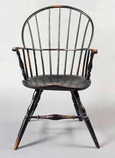 Lot Description: Black Painted Windsor Sack Back Armchair With Unusual  Scroll Handles Probably Massachusetts, Circa H. Condition Report: There Is  Later ...