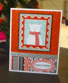 This card, created by Denise Tarlinton, features Snowhaven Paper.  Instructions for creating this card can be found at http://scrapstampshare.blogspot.com.au/2014/11/cheery-bear-christmas-card.html