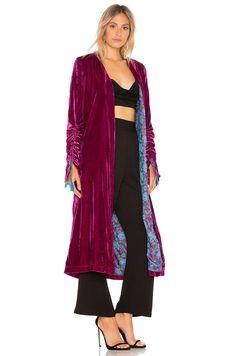 Free People Dhalia Velvet Duster Coat in Pink   REVOLVE