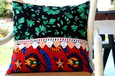 Bohemian pillow case  ethnic design  lace  hand made pillow