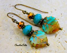 Beautiful Boho Turquoise Leaf Earring Dangles with Amazing Blue & Gold Czech Glass Beads on Rustic Brass, Cute Bohemian Hippie Chic Jewelry