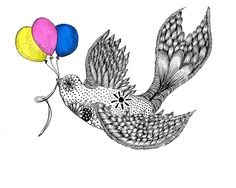 Birthday Swallow. Hand made Valentines card. Indian Ink Illustrations. Birds. £3.00, via Etsy.