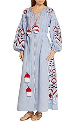 R.Vivimos Women Long Sleeve Cotton Embroidery Dresses at Amazon Women's Clothing store: