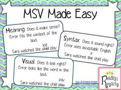 This FREEBIE is a poster to help teachers better analyze their students' errors on running records. Determine if students are using meaning, syntax, or visual cues while reading. - Michaela Almeida, Reading Royalty