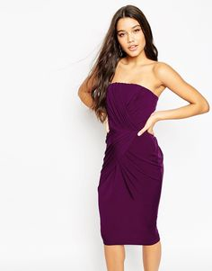 Image 1 ofASOS Drape Asymmetric Hem Twist Bandeau Dress