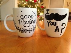 #DIY #paintedmugs #Christmas #gifts DIY painted mugs!
