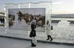 Photo frame of ice... in Rassia
