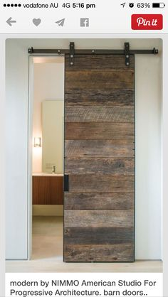 Decorating, Cool Modern Bathroom With Charming Barn Doors Sliding Also White Wall Color Also Modern Vanity And Mirror Design Also Modern Wall Light: Industrial House Decor with Barn Doors for Homes House Design, House, Home, Interior Sliding Barn Doors, Modern Bathroom Design, House Interior, Bathroom Design, Pallet Door, Rustic House