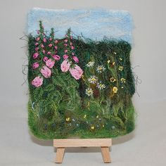 Embroidered and Felted Hanging - A Foxglove Hedgerow by Sue Bentley Wet Felting, Needle Felting, Mobiles, Creative Textiles, Creative Embroidery, Yarn Bombing, Felt Art, Fabric Art, Textile Art
