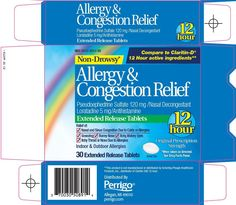 Claritin Packaging | Allergy and Congestion Relief (L Perrigo Company) LORATADINE 5mg ...