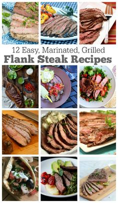12 EASY Marinated Grilled Flank Steak Recipes for summer and holiday grilling and barbecues. Flank steak is the perfect steak for grilling- it turns out tender and perfect if it has been marinated well. These are recipes you'll want to keep handy all yea Grilling Recipes, Pork Recipes, Cooking Recipes, Healthy Recipes, Beef Dishes, Food Dishes, Main Dishes, Flank Steak Recipes, Carne