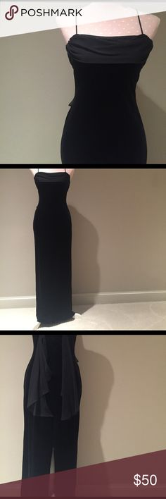 "Betsy & Adam Black Evening Gown Size 4 Made in USA! EUC. Looks like chiffon and velvet but material is shown in last image. Dry clean. 53.75"" length from top of strap to hem Betsy & Adam Dresses"