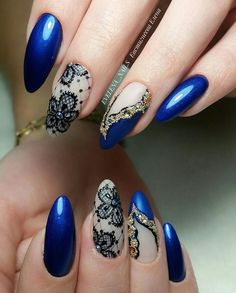 27 Cute Dark Blue Nail Designs You'll Love - Nageldesign Lace Nail Design, Lace Nail Art, Blue Nail Designs, Lace Nails, Flower Nail Art, Beautiful Nail Designs, Beautiful Nail Art, Blue Nails With Design, Fabulous Nails