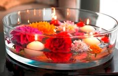 Floating Candles with Flowers Arrangement