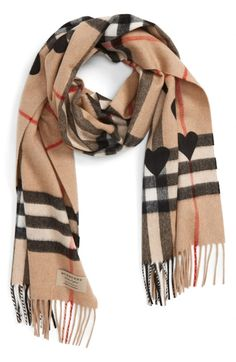 Heart & Giant Check Fringed Cashmere Scarf BURBERRY