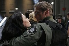 Claudia Black and Michael Shanks on the last day of shooting Stargate SG1