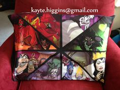 If you are interested in my work or have any questions please email me (my email address is in the photo since I am not allowed to type it here) at any time. Disney Villains fan art pillowcase made by myself! Please visit my facebook for more examples of my work! Thank you! the lion king, scar, the little mermaid, ursula, sleeping beauty, maleficent, hercules, hades, peter pan, hook, tinkerbell, aladdin, jafar, snow white, evil queen