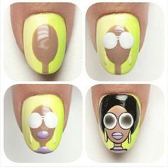 Mujer vintage Baby Nail Art, Baby Nails, Pop Art Nails, Work Nails, Nail Art Dessin, Wonder Nails, Anime Nails, Nail Drawing, Simple Nail Art Designs