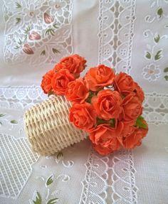 10 Roses Orange Mulberry Paper Flower Craft  DIY Scrapbooking Wedding Card #benshop15