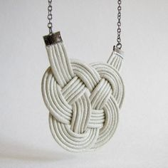 Offwhite Leather Knot  Noeud de cuir blanc by colorblindsmarties