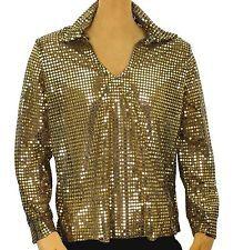 70's Disco DANCE FEVER Nightclub PIMP GOLD Sequin Shirt Men's Costume M