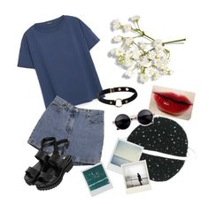 """Untitled #126"" by sadcheese on Polyvore featuring MANGO, Ann Taylor, Topshop, Nika and Polaroid"