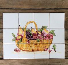 Kitchen Tiles Fruit Design hand painted tiles, tiles stove backsplash, italian fruit, table