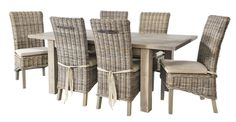 A Pair of Grey Wash Rattan Dining Chairs