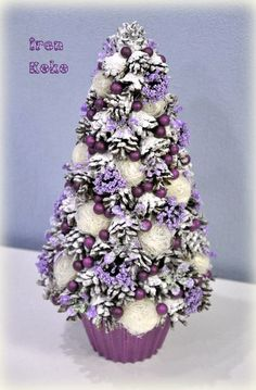 Purple flower pine cone tree with cupcake paper base Christmas Tree Forest, Fabric Christmas Trees, Christmas Tree Pattern, Miniature Christmas Trees, Purple Christmas, Christmas Tree Toppers, Xmas Tree, Christmas Tables, Coastal Christmas