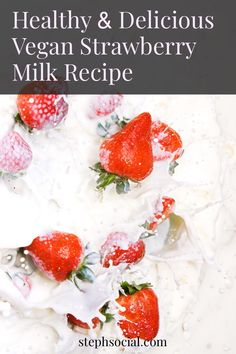 Try this refreshing and healthy vegan summer drink recipe! Make 3 Ingredient Healthy Vegan Strawberry Milk! A great vegan summer recipe, Strawberry milk is a popular Korean drink with a beautiful aesthetic and sweet flavour! Enjoy this homemade strawberry milk instead of a strawberry milkshake this summer! Strawberry milkshake recipe. Strawberry recipes. #veganrecipe #strawberrymilkshake #summerdrink Summer Drink Recipes, Drinks Alcohol Recipes, Milk Recipes, Summer Drinks, Vegan Recipes, Dessert Recipes, Milk Ingredients, Vegan Milk, Strawberry Milkshake