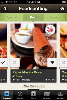 Foodspotting : Foodspotting is a visual guide to good food and where to find it. Launched in 2010, it's the first and leading app for finding and rating dishes, not just restaurants.