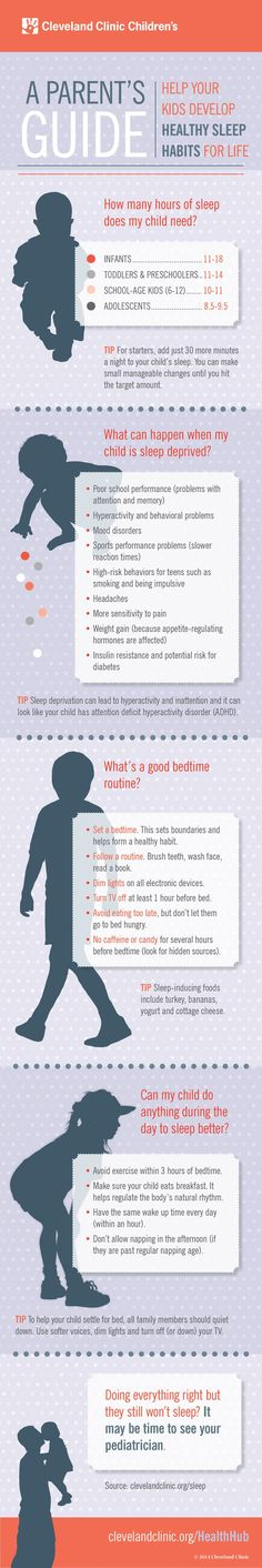 How to help your child develop healthy sleep habits for life. Great tips for parents in this infographic!