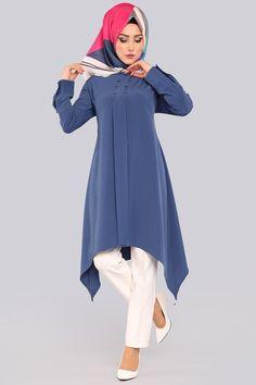 Tilt Cut Tunic Indigo - World Fashion Week Indian Blouse Designs, African Print Dress Designs, Islamic Fashion, Muslim Fashion, Hijab Fashion, Women's Dresses, Stylish Dresses, Casual Dresses, Girls Fashion Clothes