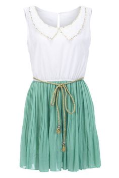 Shop Peter Pan Neckline Green Dress at ROMWE, discover more fashion styles online. Romwe, Spring Summer Fashion, Spring Outfits, Pretty Outfits, Cute Outfits, Pretty Clothes, Lunch Date Outfit, Stylish Eve, Glamour