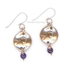 1958 Penny Earrings 60th Birthday Amethyst February Birthstone Beads 1958 Women Gifts Ideas by WvWorksJewelry on Etsy