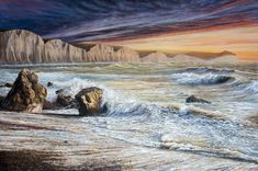 Seven Sisters sunrise from Seaford Heads - 1.5m x 1m oil on canvas Landscape Art, Landscape Paintings, Seaford Head, Oil On Canvas, Canvas Art, Original Paintings, Original Art, Painter Artist, Oil Painters
