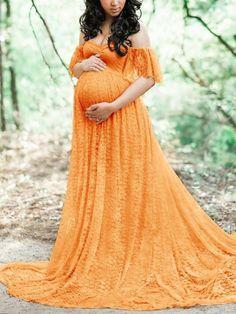 43dc77e32b68d Ginger Yellow Lace Ruffle Draped Pleated Boat Neck Short Sleeve Elegant Maternity  Dress