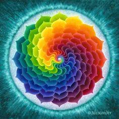 lotus, quilt, rainbows, art, color wheels, spiral, mandalas, rainbow colors, fractal